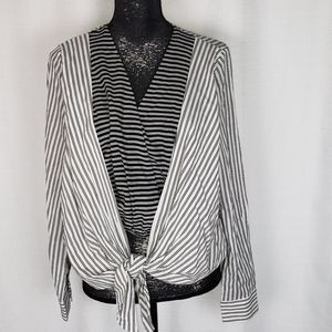 Everly Striped Crop Layer Top Size Medium